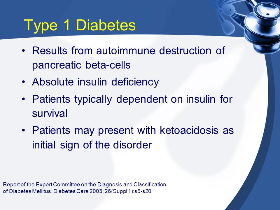 Report of the Expert Committee on the Diagnosis and Classification of Diabetes Mellitus. Diabetes Care 2003; 26(Suppl 1):s5-s20 Type 1 Diabetes Result
