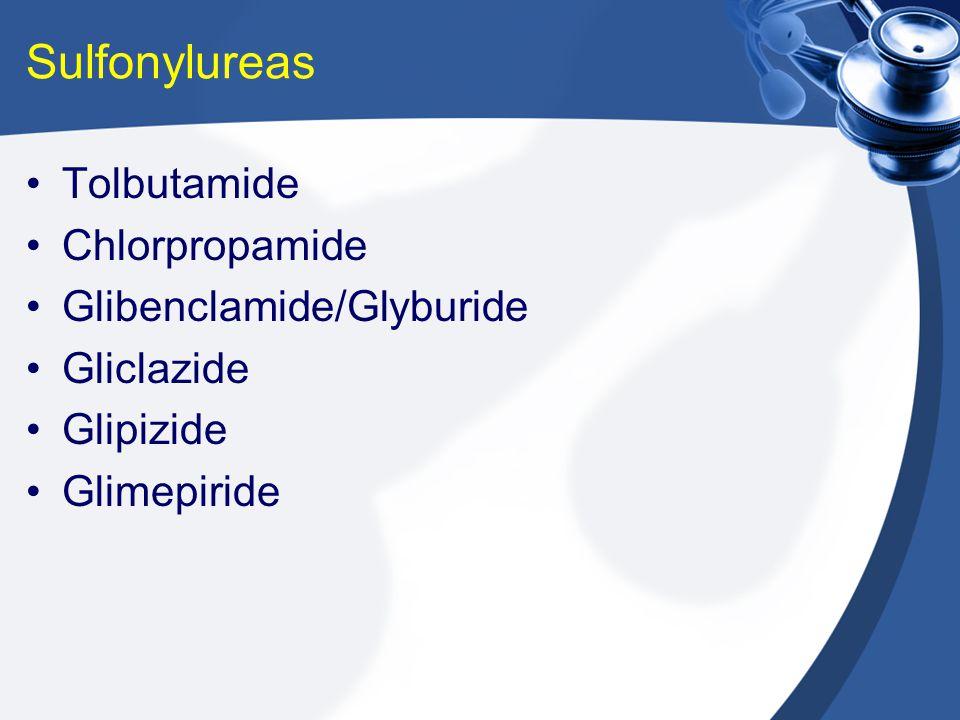Sulfonylureas Tolbutamide Chlorpropamide Glibenclamide/Glyburide Gliclazide Glipizide Glimepiride