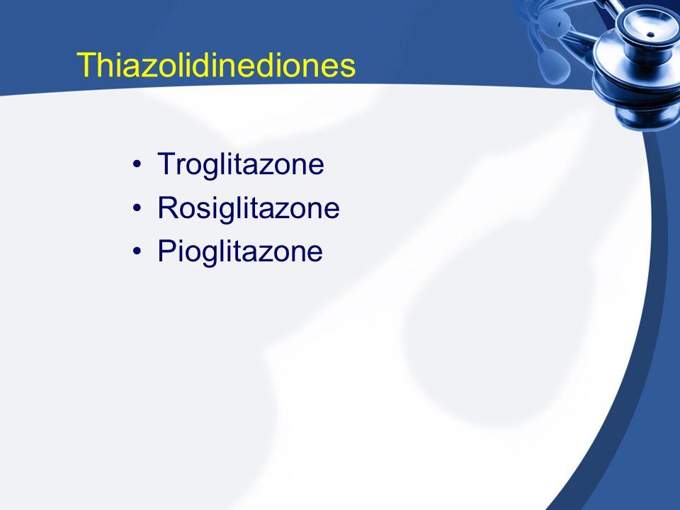 Thiazolidinediones Troglitazone Rosiglitazone Pioglitazone
