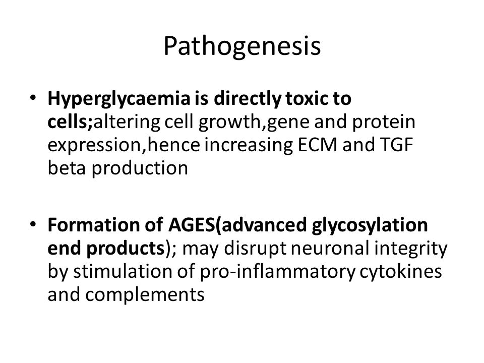 Pathogenesis ctd Polyol pathway; accumulation of sorbitol and fructose in schwann cells lead to decreased nerve myoinositol,reduced Na-k ATPase activity, impaired axonal transport,abnormal AP propagation and breakdown of nerve structure DAG/PKc pathway; pkc alters gene transcription for fibronectin,type 4 collagen,contractile proteins,ECM in the neurones