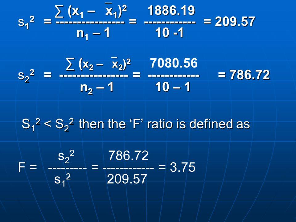 ∑ (x 1 –  x 1 ) 2 1886.19 ∑ (x 1 –  x 1 ) 2 1886.19 s 1 2 = ---------------- = ------------ = 209.57 n 1 – 1 10 -1 n 1 – 1 10 -1 ∑ ( x 2 –  x 2 ) 2