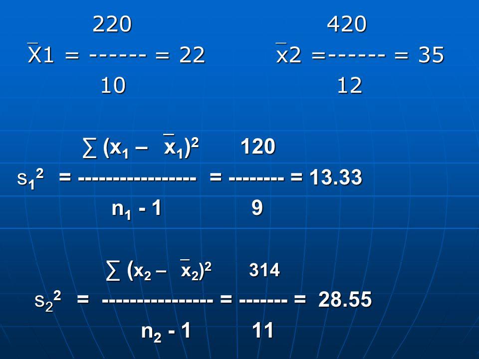 220 420 220 420 X1 = ------ = 22 x2 =------ = 35 10 12 10 12 ∑ (x 1 –  x 1 ) 2 120 ∑ (x 1 –  x 1 ) 2 120 s 1 2 = ----------------- = -------- = 13