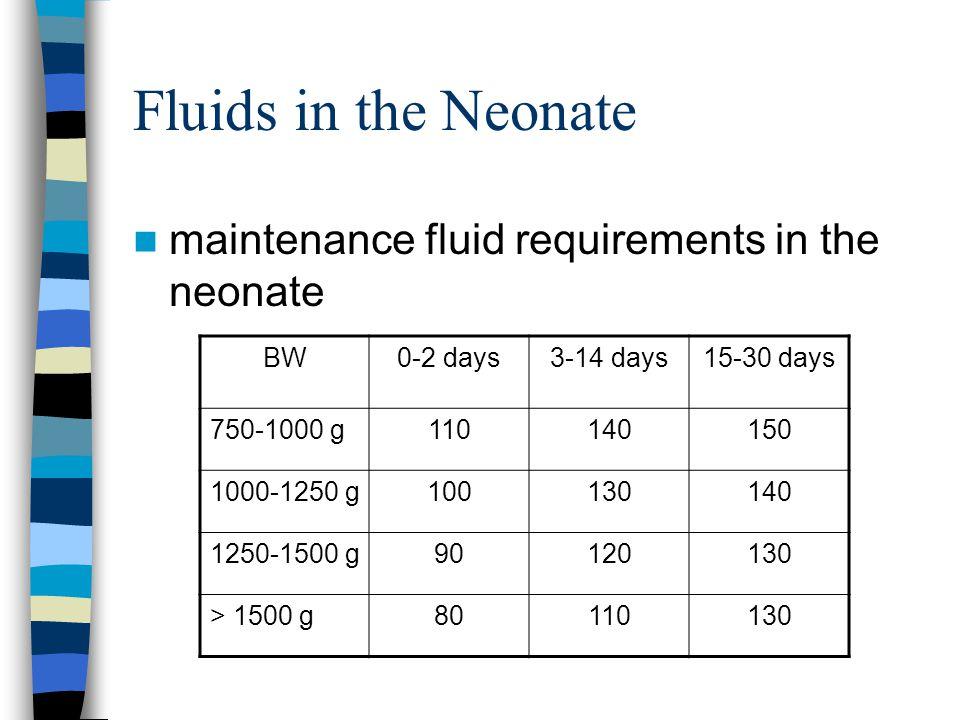 Fluids in the Neonate maintenance fluid requirements in the neonate BW0-2 days3-14 days15-30 days 750-1000 g110140150 1000-1250 g100130140 1250-1500 g90120130 > 1500 g80110130