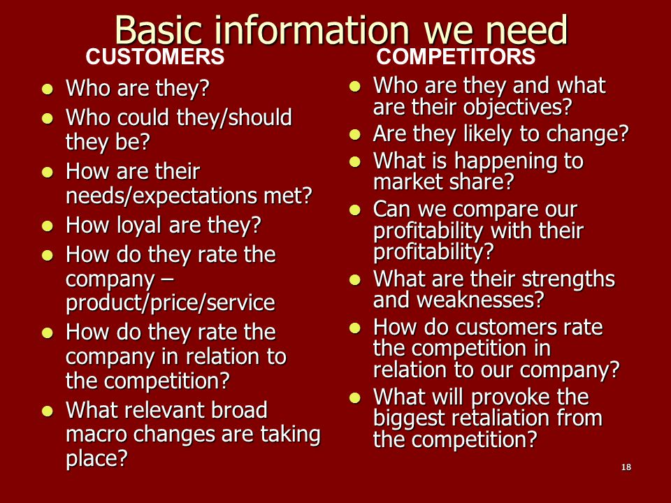 18 Basic information we need Who are they? Who are they? Who could they/should they be? Who could they/should they be? How are their needs/expectation