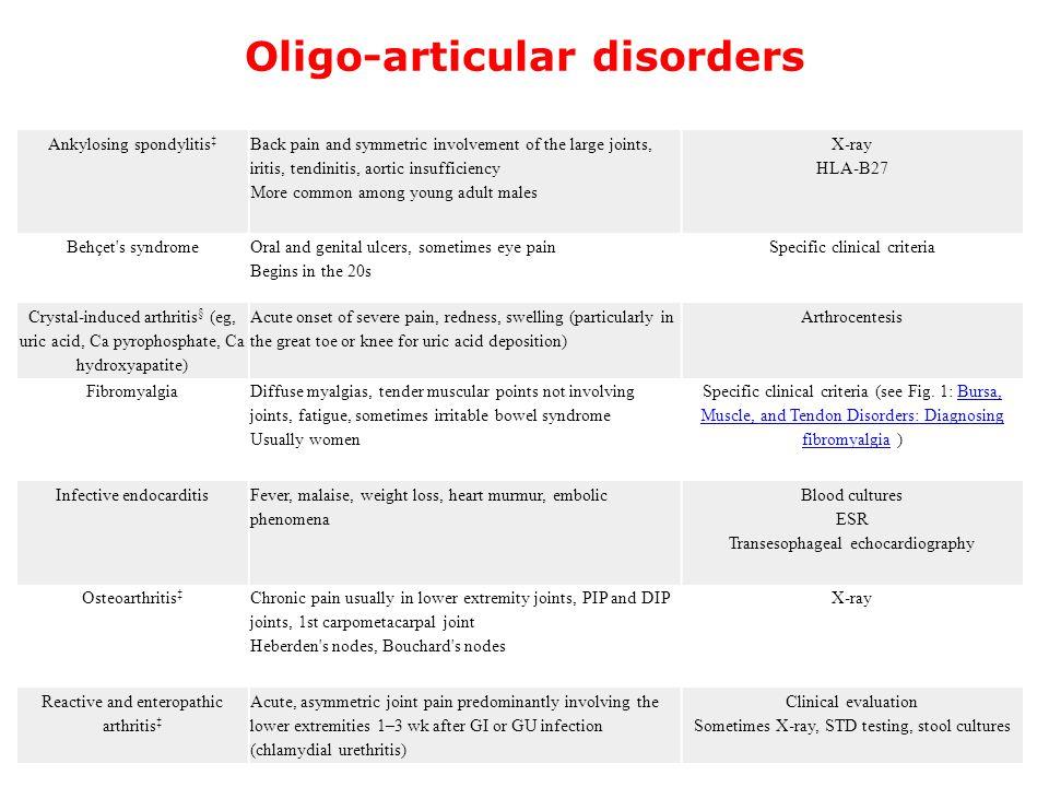 Oligo-articular disorders Ankylosing spondylitis ‡ Back pain and symmetric involvement of the large joints, iritis, tendinitis, aortic insufficiency M