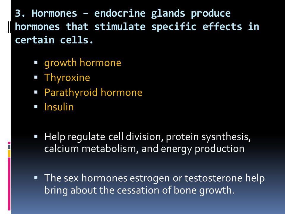3. Hormones – endocrine glands produce hormones that stimulate specific effects in certain cells.  growth hormone  Thyroxine  Parathyroid hormone 