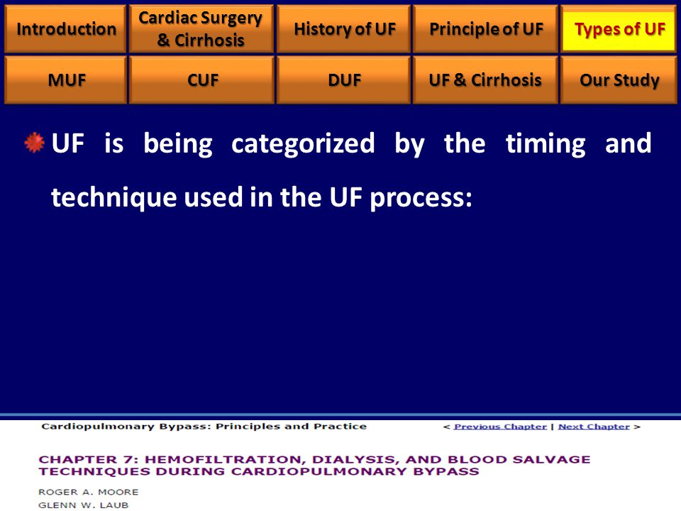 UF is being categorized by the timing and technique used in the UF process: IntroductionIntroduction Cardiac Surgery & Cirrhosis History of UF Principle of UF Types of UF MUFMUFCUFCUFDUFDUF UF & Cirrhosis Our Study
