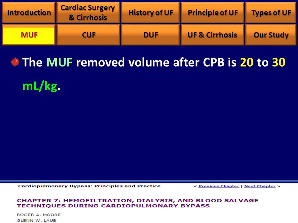 MUF The MUF removed volume after CPB is 20 to 30 mL/kg. IntroductionIntroduction Cardiac Surgery & Cirrhosis History of UF Principle of UF Types of UF