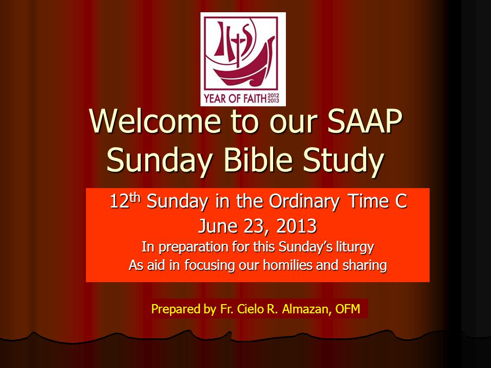 Welcome to our SAAP Sunday Bible Study 12 th Sunday in the Ordinary Time C June 23, 2013 In preparation for this Sunday's liturgy As aid in focusing our homilies and sharing Prepared by Fr.