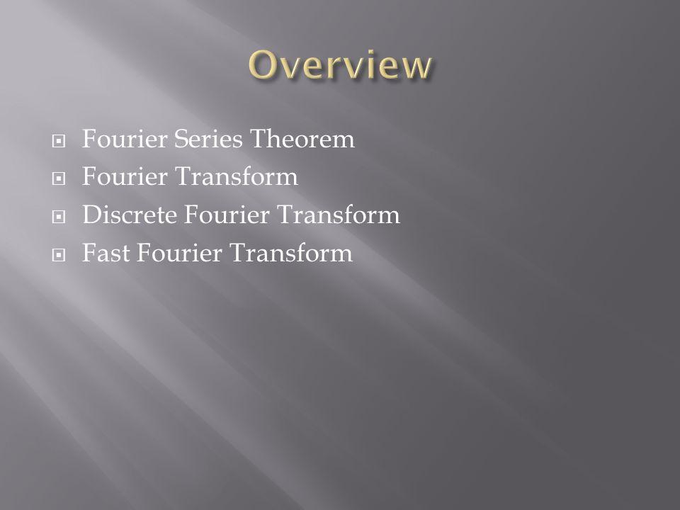  Fourier Series Theorem  Fourier Transform  Discrete Fourier Transform  Fast Fourier Transform