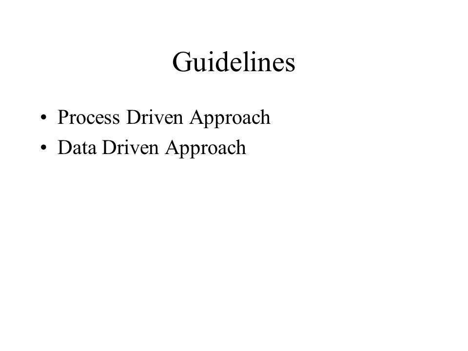 Guidelines Process Driven Approach Data Driven Approach