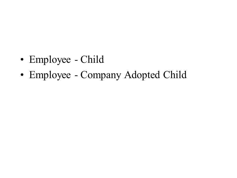 Employee - Child Employee - Company Adopted Child