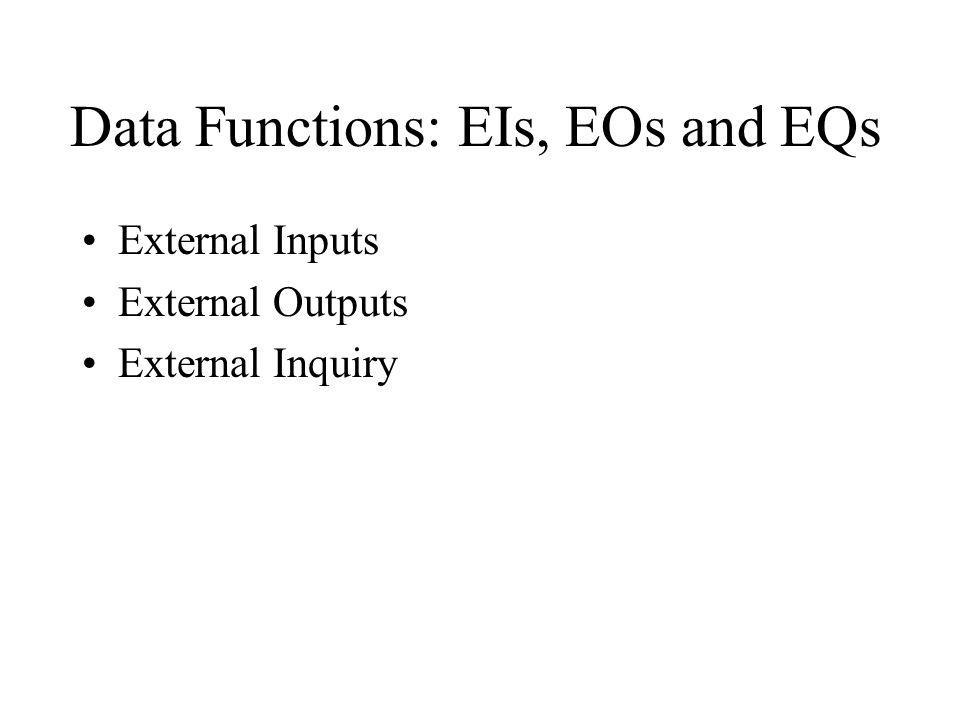 Data Functions: EIs, EOs and EQs External Inputs External Outputs External Inquiry