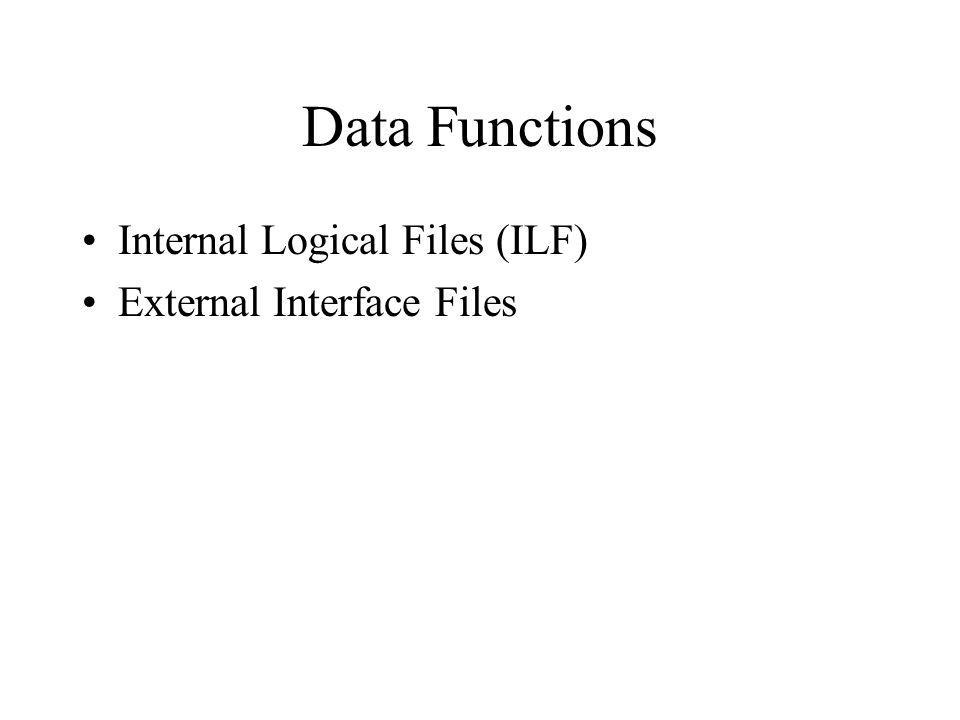 Internal Logical Files (ILF) An internal logical file (ILF) is a user identifiable group of logically related data or control information maintained within the boundary of the application.