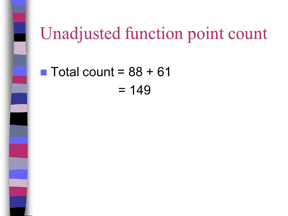 Unadjusted function point count Total count = 88 + 61 = 149