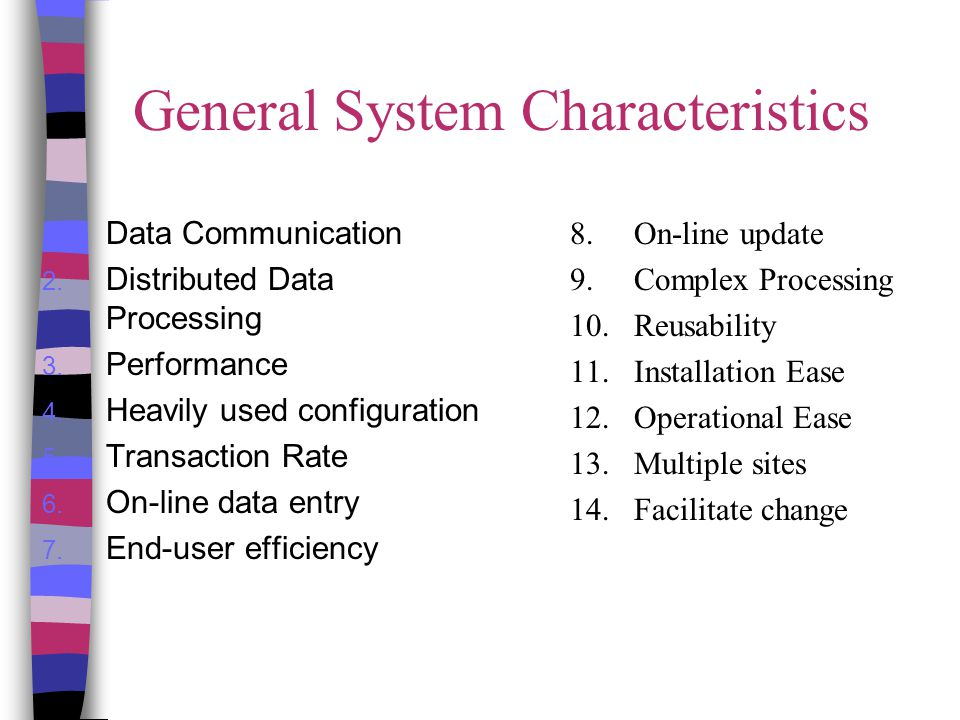 General System Characteristics 1. Data Communication 2. Distributed Data Processing 3. Performance 4. Heavily used configuration 5. Transaction Rate 6