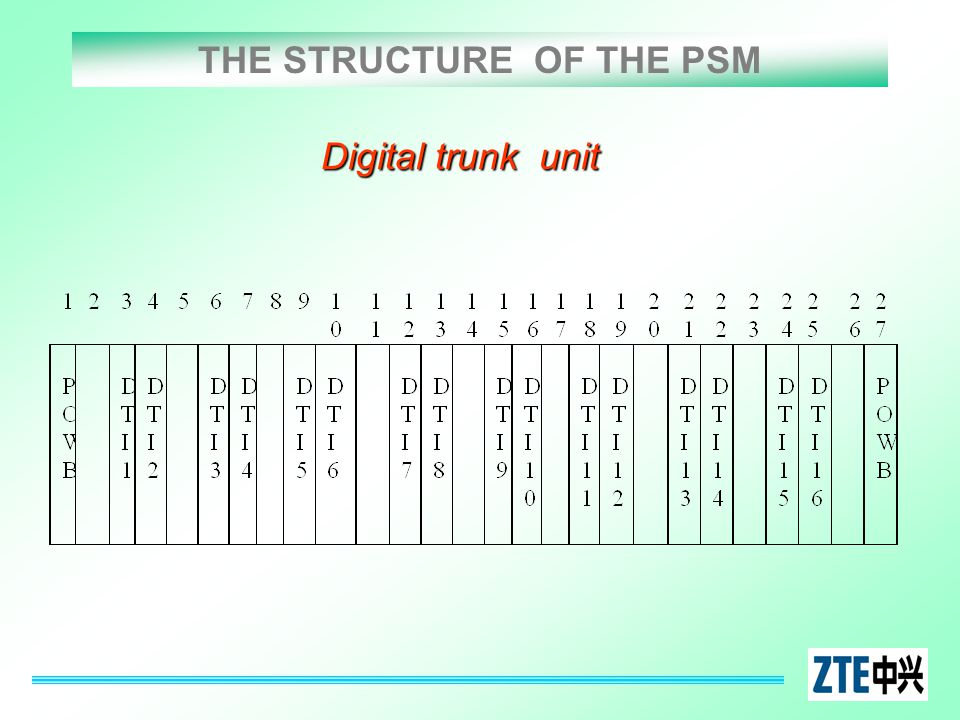 THE STRUCTURE OF THE PSM Digital trunk unit
