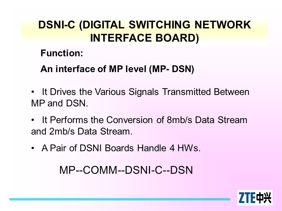 DSNI-C (DIGITAL SWITCHING NETWORK INTERFACE BOARD) Function: An interface of MP level (MP- DSN) It Drives the Various Signals Transmitted Between MP a