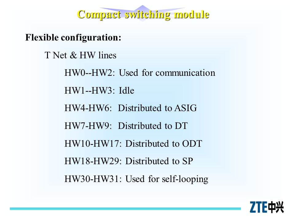 Flexible configuration: T Net & HW lines HW0--HW2: Used for communication HW1--HW3: Idle HW4-HW6: Distributed to ASIG HW7-HW9: Distributed to DT HW10-