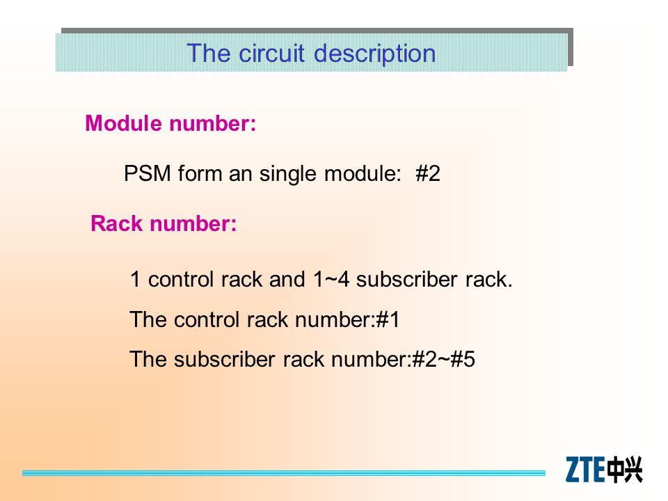 The circuit description Module number: PSM form an single module: #2 Rack number: 1 control rack and 1~4 subscriber rack. The control rack number:#1 T