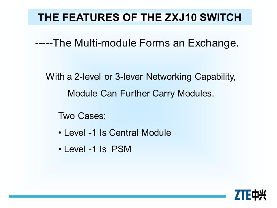 THE FEATURES OF THE ZXJ10 SWITCH -----The Multi-module Forms an Exchange. With a 2-level or 3-lever Networking Capability, Module Can Further Carry Mo