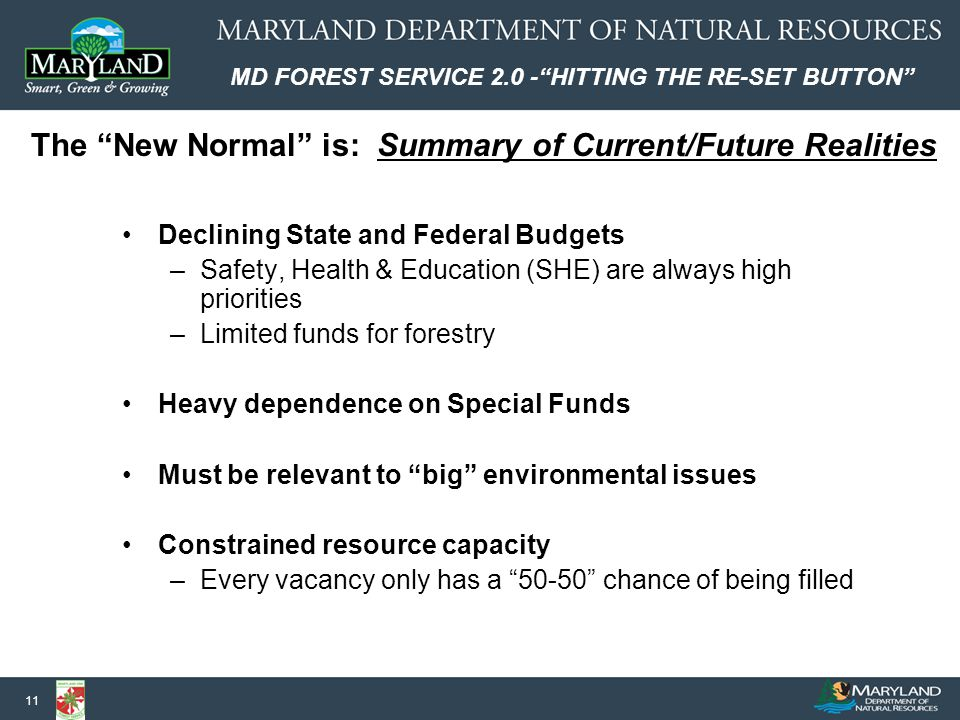MD FOREST SERVICE 2.0 - HITTING THE RE-SET BUTTON 11 The New Normal is: Summary of Current/Future Realities Declining State and Federal Budgets –Safety, Health & Education (SHE) are always high priorities –Limited funds for forestry Heavy dependence on Special Funds Must be relevant to big environmental issues Constrained resource capacity –Every vacancy only has a 50-50 chance of being filled