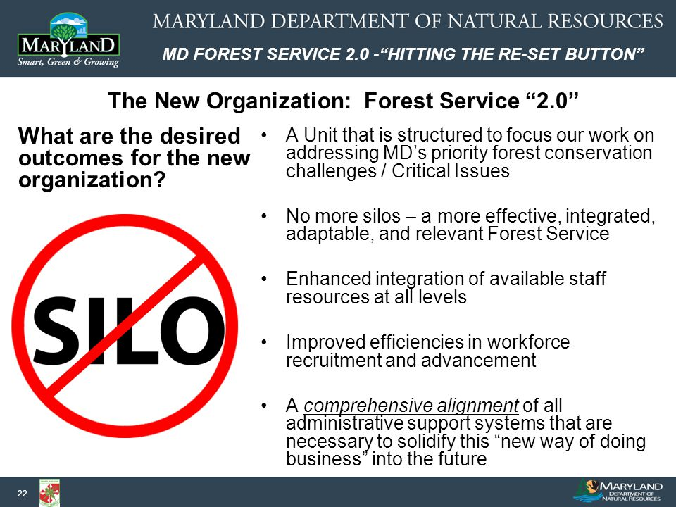 MD FOREST SERVICE 2.0 - HITTING THE RE-SET BUTTON 22 A Unit that is structured to focus our work on addressing MD's priority forest conservation challenges / Critical Issues No more silos – a more effective, integrated, adaptable, and relevant Forest Service Enhanced integration of available staff resources at all levels Improved efficiencies in workforce recruitment and advancement A comprehensive alignment of all administrative support systems that are necessary to solidify this new way of doing business into the future The New Organization: Forest Service 2.0 What are the desired outcomes for the new organization