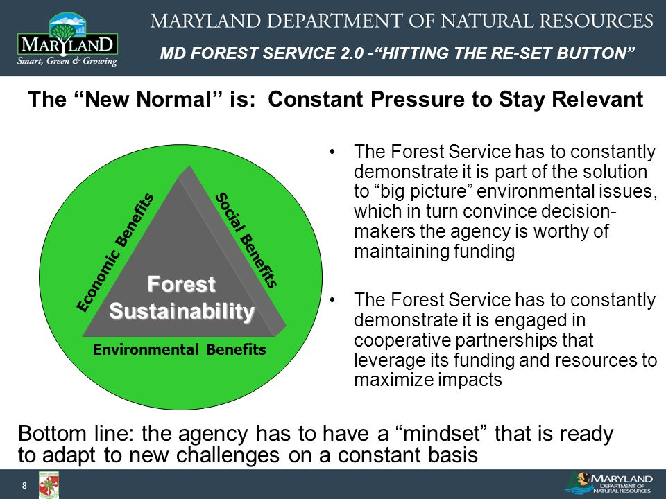 MD FOREST SERVICE 2.0 - HITTING THE RE-SET BUTTON 8 The New Normal is: Constant Pressure to Stay Relevant The Forest Service has to constantly demonstrate it is part of the solution to big picture environmental issues, which in turn convince decision- makers the agency is worthy of maintaining funding The Forest Service has to constantly demonstrate it is engaged in cooperative partnerships that leverage its funding and resources to maximize impacts Social Benefits Economic Benefits ForestSustainability Environmental Benefits Bottom line: the agency has to have a mindset that is ready to adapt to new challenges on a constant basis