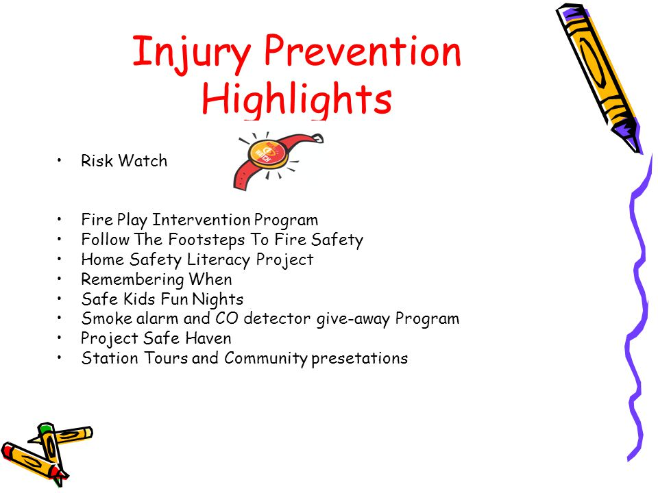 Injury Prevention Highlights Risk Watch Fire Play Intervention Program Follow The Footsteps To Fire Safety Home Safety Literacy Project Remembering Wh