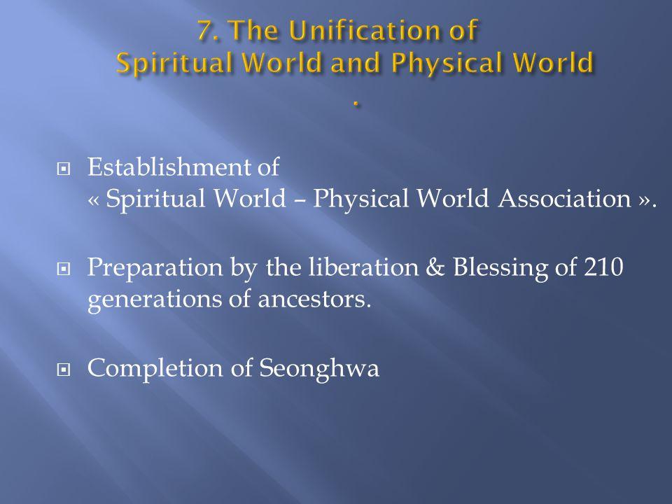  Establishment of « Spiritual World – Physical World Association ».