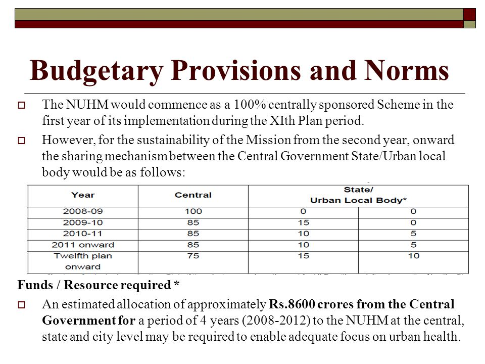 Budgetary Provisions and Norms  The NUHM would commence as a 100% centrally sponsored Scheme in the first year of its implementation during the XIth
