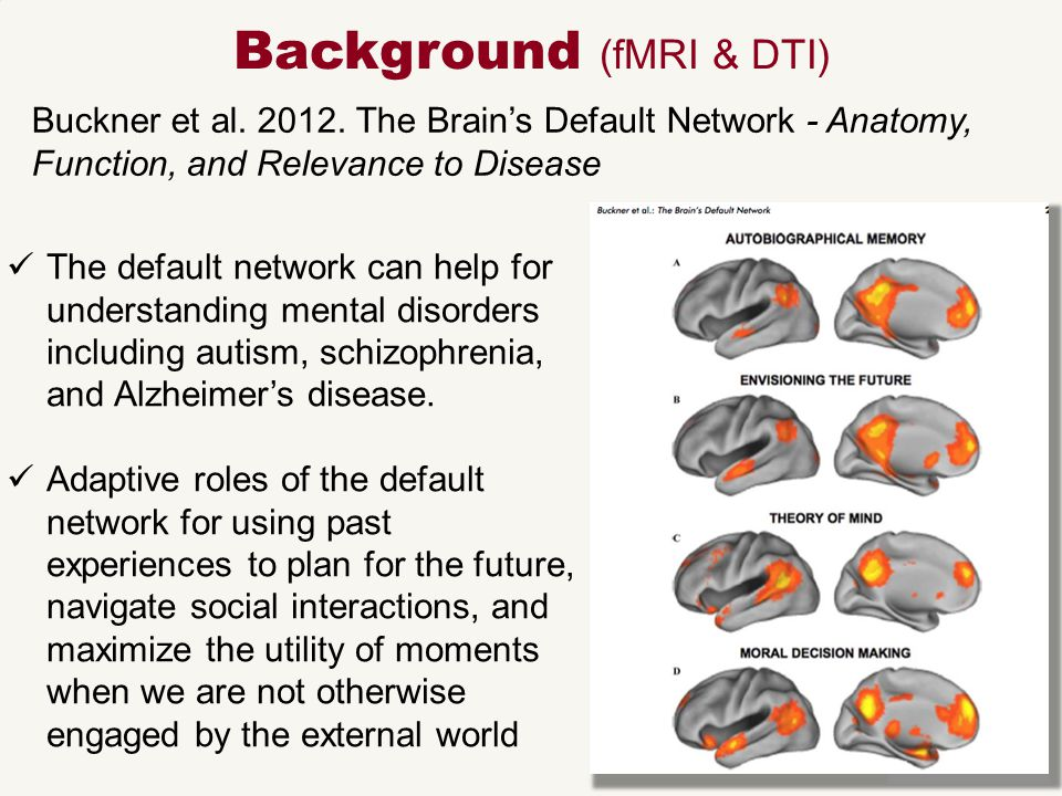 Buckner et al. 2012. The Brain's Default Network - Anatomy, Function, and Relevance to Disease Background (fMRI & DTI) The default network can help fo