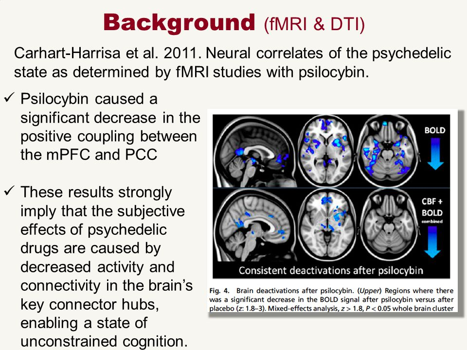 Carhart-Harrisa et al. 2011. Neural correlates of the psychedelic state as determined by fMRI studies with psilocybin. Background (fMRI & DTI) Psilocy