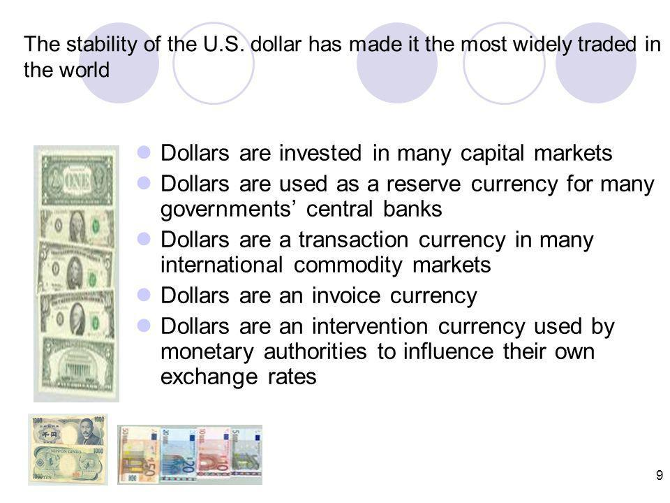 8 Which currency is the most actively traded. CURRENCY U.S.