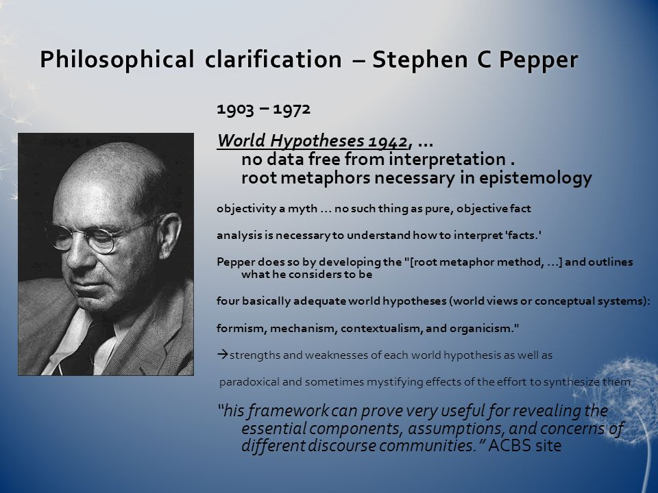 Philosophical clarification – Stephen C PepperPhilosophical clarification – Stephen C Pepper 1903 – 1972 World Hypotheses 1942,... no data free from i
