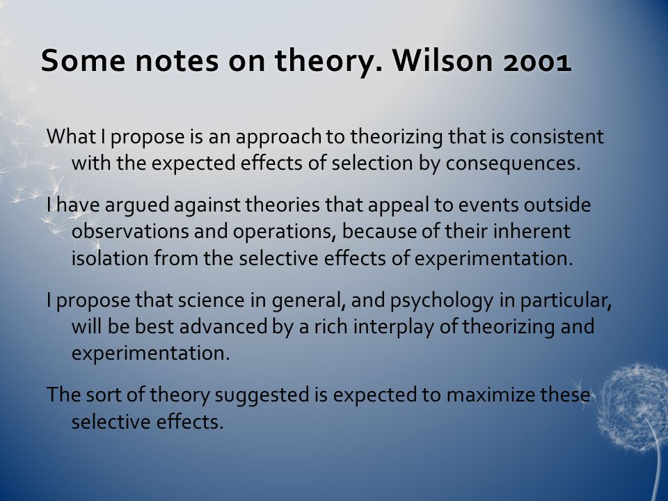 Some notes on theory. Wilson 2001Some notes on theory.