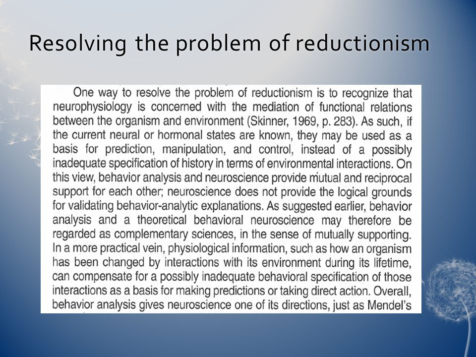 Resolving the problem of reductionismResolving the problem of reductionism