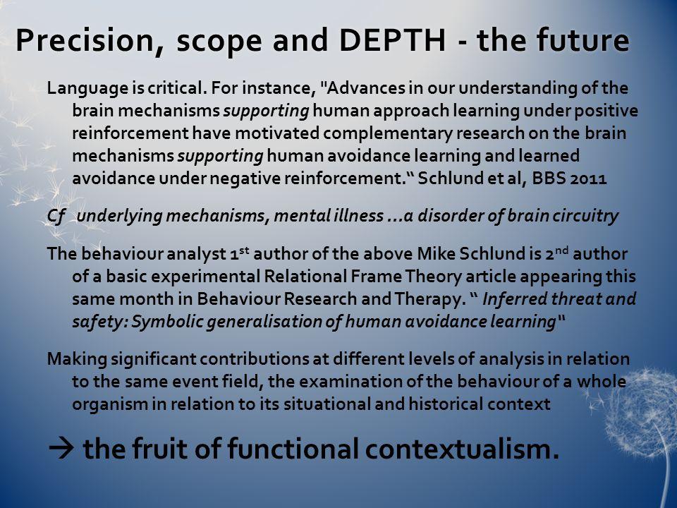 Precision, scope and DEPTH - the futurePrecision, scope and DEPTH - the future Language is critical.