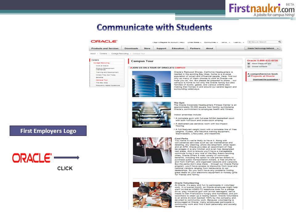 First Employers Logo CLICK Continued from Slide 8