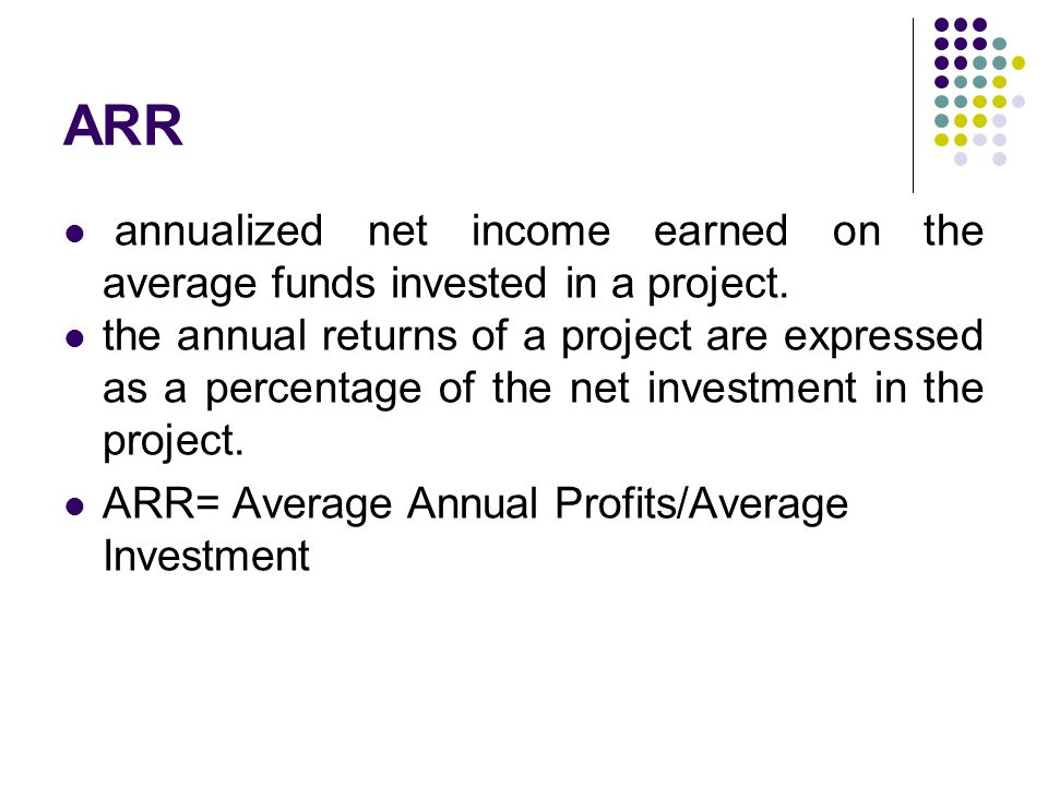 ARR annualized net income earned on the average funds invested in a project. the annual returns of a project are expressed as a percentage of the net