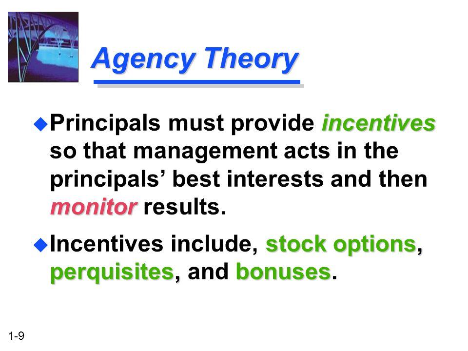 1-9 Agency Theory stock options, perquisites, bonuses u Incentives include, stock options, perquisites, and bonuses. incentives monitor u Principals m