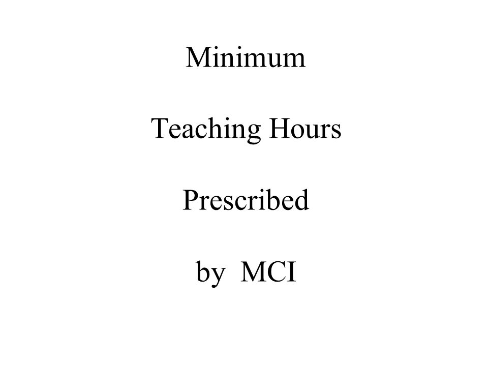 Minimum Teaching Hours Prescribed by MCI
