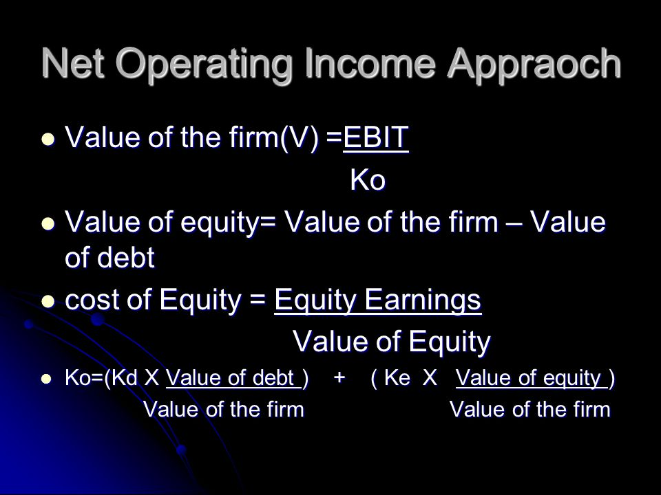 Net Operating Income Appraoch Value of the firm(V) =EBIT Value of the firm(V) =EBIT Ko Ko Value of equity= Value of the firm – Value of debt Value of equity= Value of the firm – Value of debt cost of Equity = Equity Earnings cost of Equity = Equity Earnings Value of Equity Value of Equity Ko=(Kd X Value of debt ) + ( Ke X Value of equity ) Ko=(Kd X Value of debt ) + ( Ke X Value of equity ) Value of the firm Value of the firm Value of the firm Value of the firm