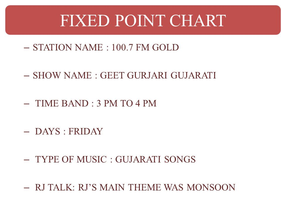 – STATION NAME : 100.7 FM GOLD – SHOW NAME : GEET GURJARI GUJARATI – TIME BAND : 3 PM TO 4 PM – DAYS : FRIDAY – TYPE OF MUSIC : GUJARATI SONGS – RJ TA