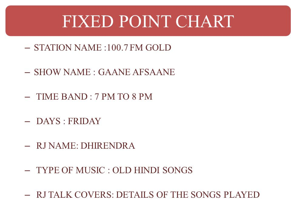 – STATION NAME :100.7 FM GOLD – SHOW NAME : GAANE AFSAANE – TIME BAND : 7 PM TO 8 PM – DAYS : FRIDAY – RJ NAME: DHIRENDRA – TYPE OF MUSIC : OLD HINDI