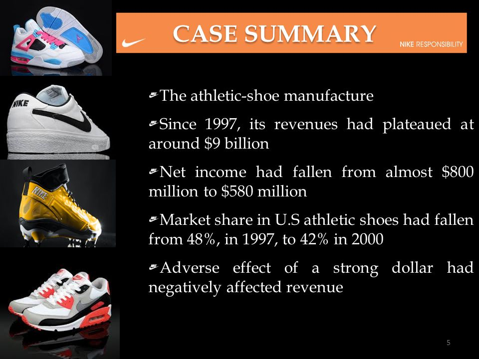 The athletic-shoe manufacture Since 1997, its revenues had plateaued at around $9 billion Net income had fallen from almost $800 million to $580 milli
