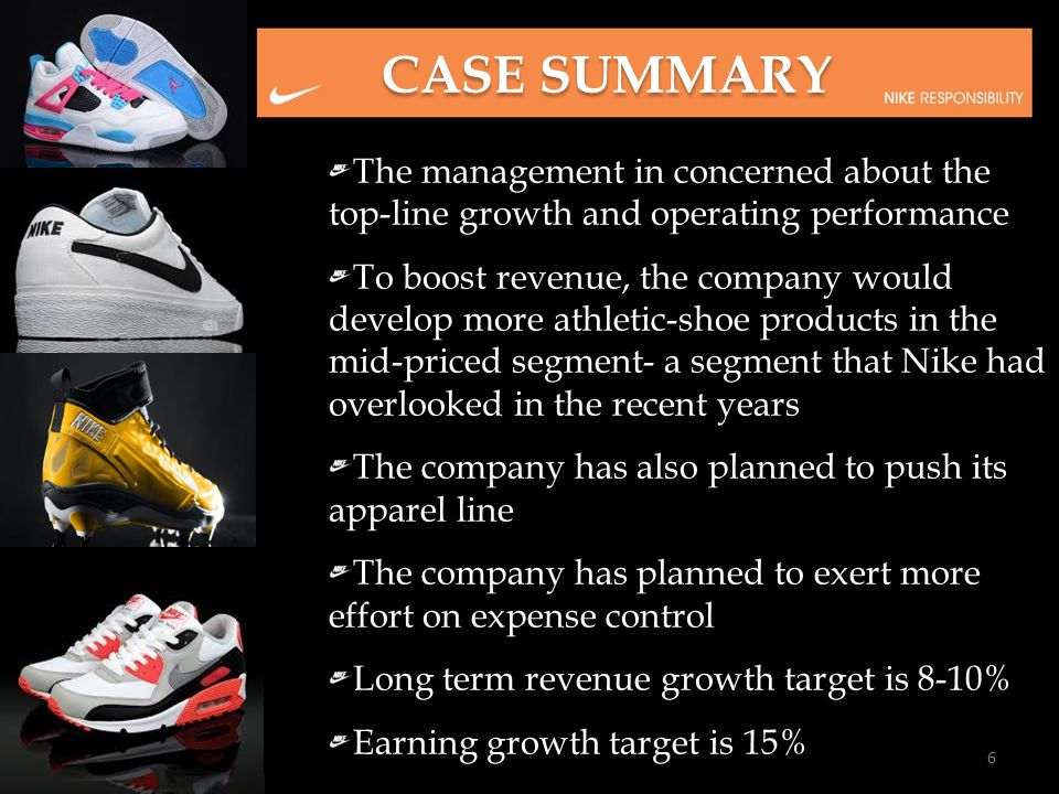 The management in concerned about the top-line growth and operating performance To boost revenue, the company would develop more athletic-shoe product
