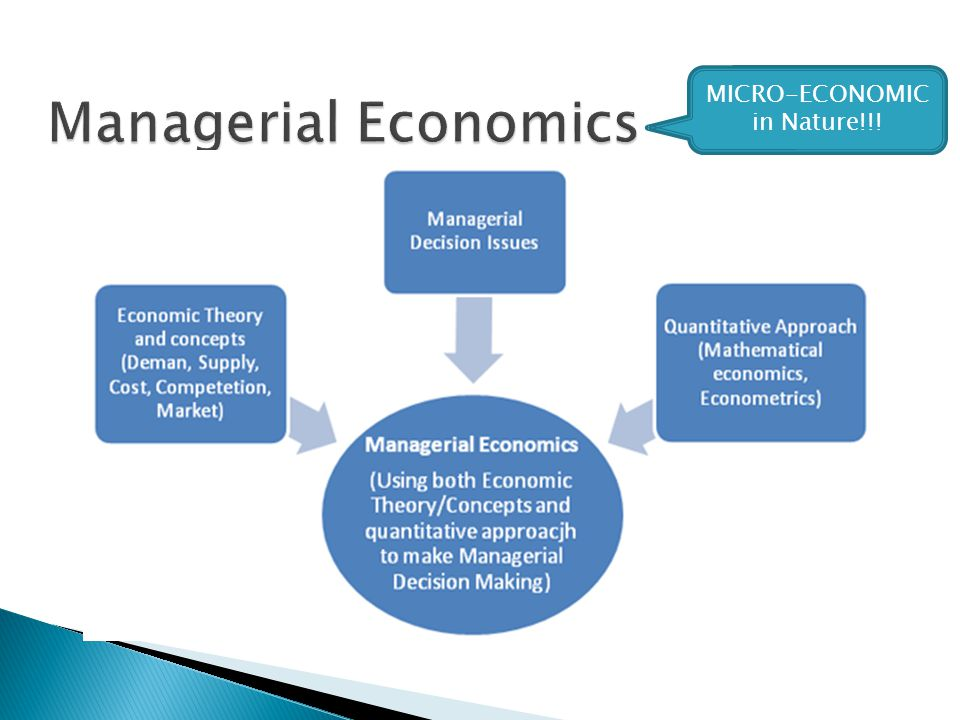  Managerial economics, or business economics, is a division of microeconomics that focuses on applying economic theory directly to businesses.