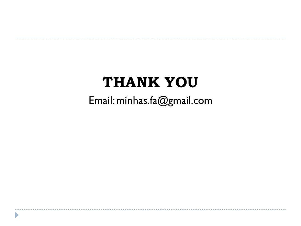 THANK YOU Email: minhas.fa@gmail.com
