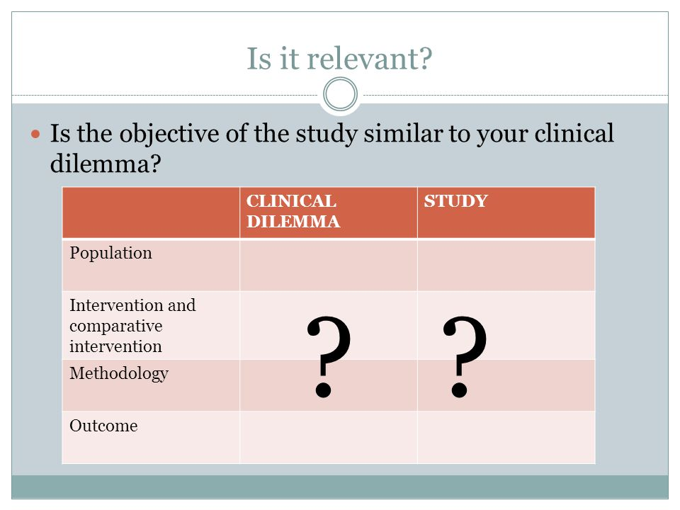 Is it relevant? Is the objective of the study similar to your clinical dilemma? CLINICAL DILEMMA STUDY Population Intervention and comparative interve